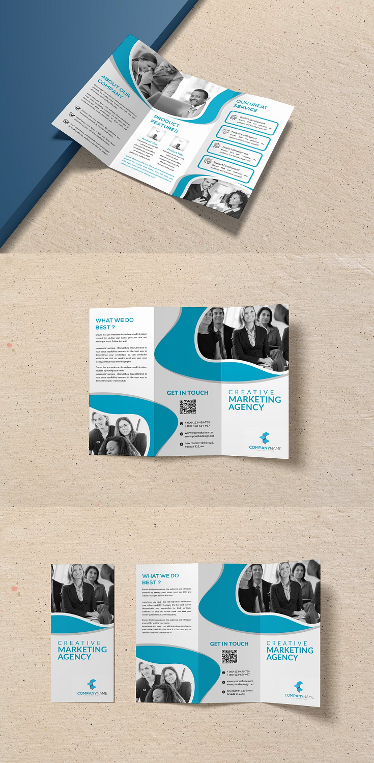 Creative Marketing Agency Trifold Brochure = Photoshop Psd file = 300 DPI CMYK Colour = Size 11×8.5 Print Ready Format = 100% Layered and Full Editable = Smart Object Image Change = Help Guide Included Font Used Free Font