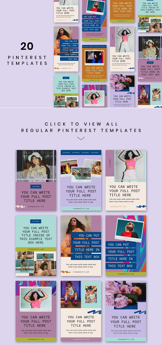 Dizzy Pinterest Templates The complete Dizzy Pinterest Templates pack comes with: 10 x Pinterest Templates (regular) 10 x Pinterest Templates (tall) CANVA BASED TEMPLATES All of the Social Media Templates are designed in Canva, which is a free, popular and easy to use online design software.