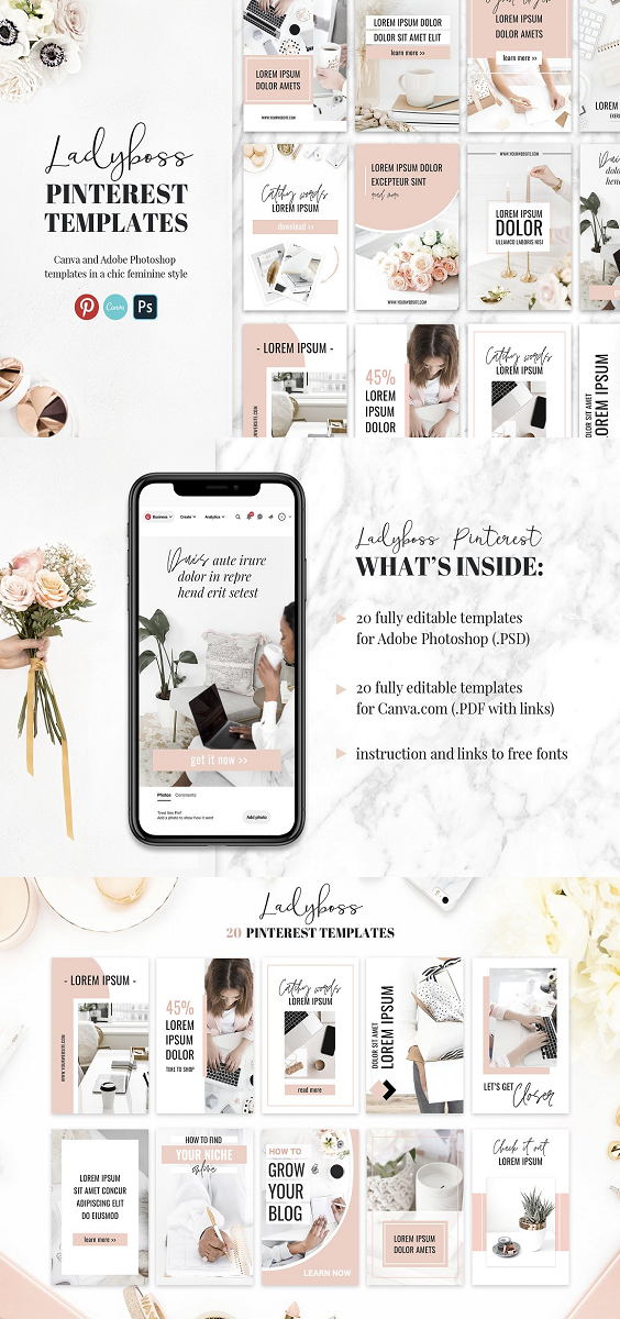 These templates are easy to use in Adobe Photoshop or Canva.com. Fully customizable, simple and beautiful! Save tons of time and attract more customers by using these stylish Ladyboss Pinterest banners. What's inside: 20 .PSD templates (banner size is 735x1102px). Everything is customizable. a file with 20 Canva templates links). Everything is customizable. a file with links to free fonts/images