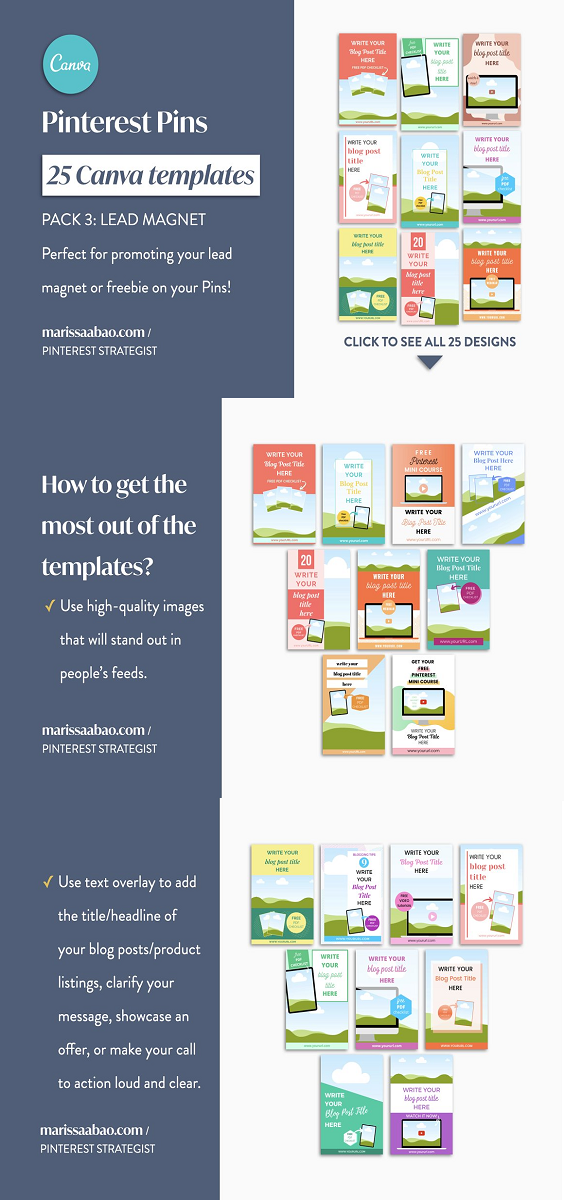 This Pinterest Pin Canva Templates pack is ready to use. You will get 25 customizable templates that feature fun layouts and a variety of designs. After your purchase, you will be able to download a PDF document where you will see a link to access the Pinterest Pin Canva templates. Click it and make sure that you have a Canva account.