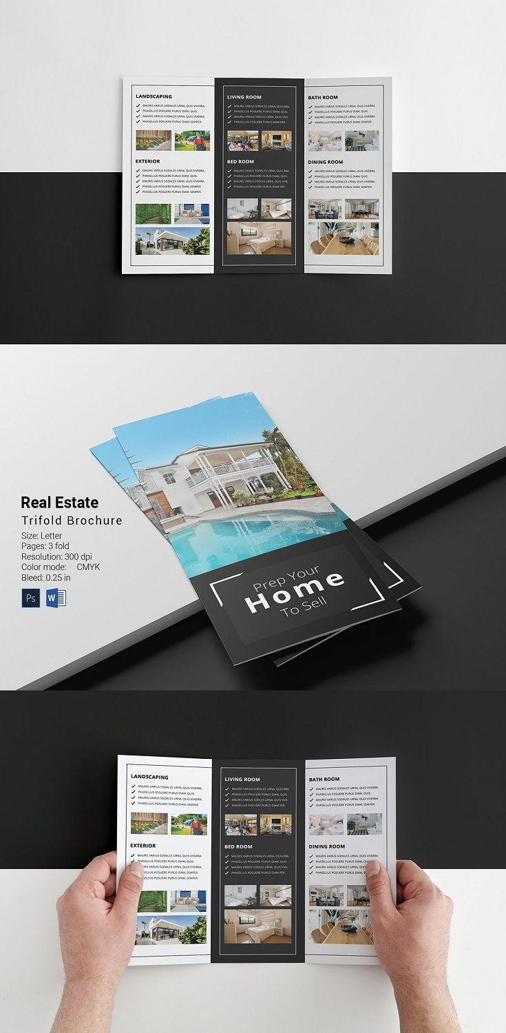 Real Estate Trifold Brochure About the Product Information: Size: Letter Pages: 3 Fold Brochure Resolution: 300 dpi Color mode: CMYK Bleed: 0.25 in Working file: Photoshop Cs2, Microsoft Word File included: Photoshop cc File, Microsoft Word (Docx File) Mock-up and photo are not included in main file.