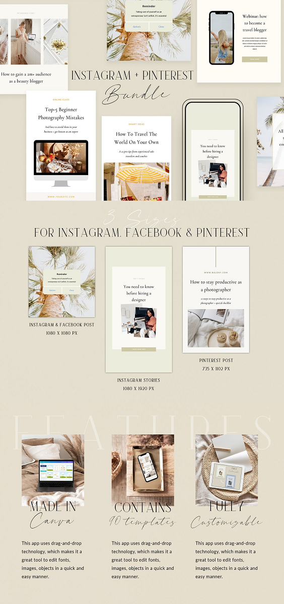 Get your products, blog posts, courses and webinars noticed with Instagram Bundle! The kit contains 60 templates created for small businesses, bloggers, coaches, virtual assistants, creatives, and everyone who wants to up-level their Instagram game. Templates also can be used as Facebook post templates, since they optimized perfectly for it (1080px x 1080px) Use this bundle to grow your Instagram visibility, attract the new audiences, and promote your products and services in style.