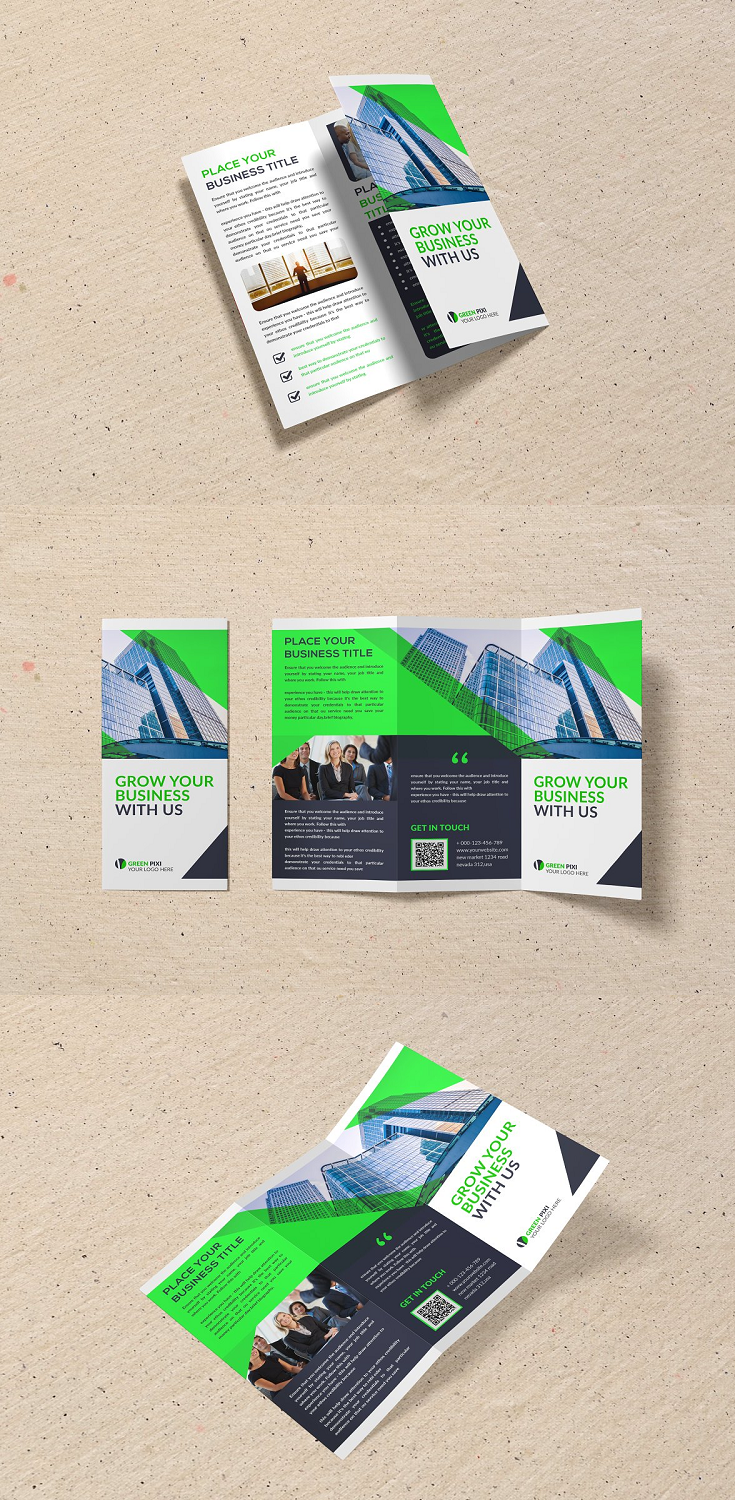 Tri-Fold Business Brochure = Photoshop Psd file = 300 DPI CMYK Colour = Size 11×8.5 Print Ready Format = 100% Layered and Full Editable = Smart Object Image Change = Help Guide Included Font Used Free Font