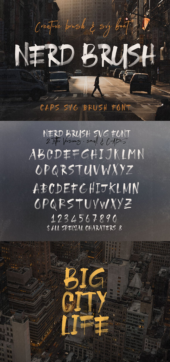 Brush, paint or grunge style sans display font for your new projects. Great for grunge or artistic projects! color or SVG opentype font - working only in Photoshop CC 2017+, Illustrator CC 2018 and some Mac apps! regular OTF & TTF font Instructions: Color or SVG fonts are pretty new technology – they currently show up in Photoshop CC 2017+, Illustrator CC 2018 and some Mac apps.