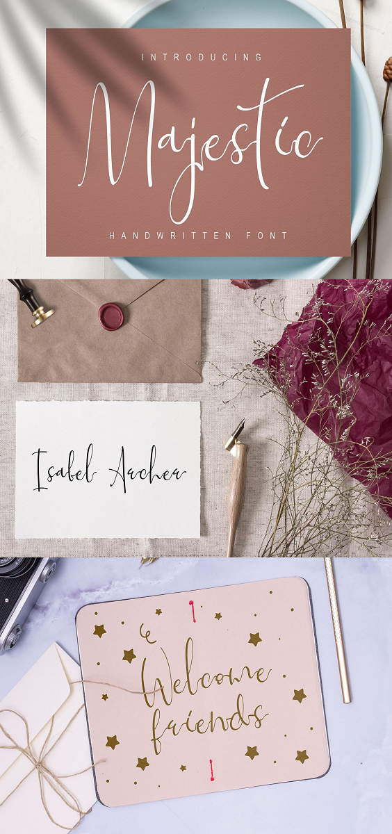 Handwritten Font Majestic .It has a new organic style which is great for many purposes including branding purposes, wedding cards , design logos & also it's absolutely possible to use it for your beauty items. For you, to have the impression that your writing on paper/tab , i've decided to add lowercase alternatives and some ligatures, including the start and the end of the swash. And if you'd like to test the words in this font, it's so simple.