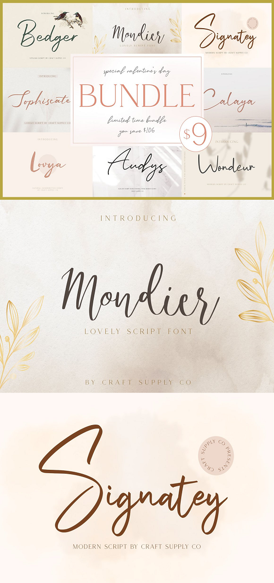 This bundle includes 15 Fonts in 8 Font Families. This bundle is a terrific toolbox for display purposes. It would be a perfect choice to design posters, headings, letterhead, merchandise, logos, t-shirts, magazine, banner, and many more.  Also suitable for happening style like handdrawn design, craft design, any DIY project, book title, wedding font, pop vintage design, retro design or any purpose to make your art / design project look pretty and trendy.
