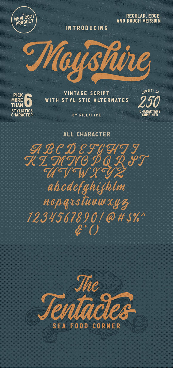 a vintage script font with a little touch of brush to make this font more bold and eye catching. this font is perfect for branding logo, illustration, or apparel design. This font also support multilingual, number and symbol. This font comes with 3 version, Regular, Rough, and Edge. Features : uppercase & lowercase numbers and punctuation multilingual alternates / swashes and ligatures PUA encoded