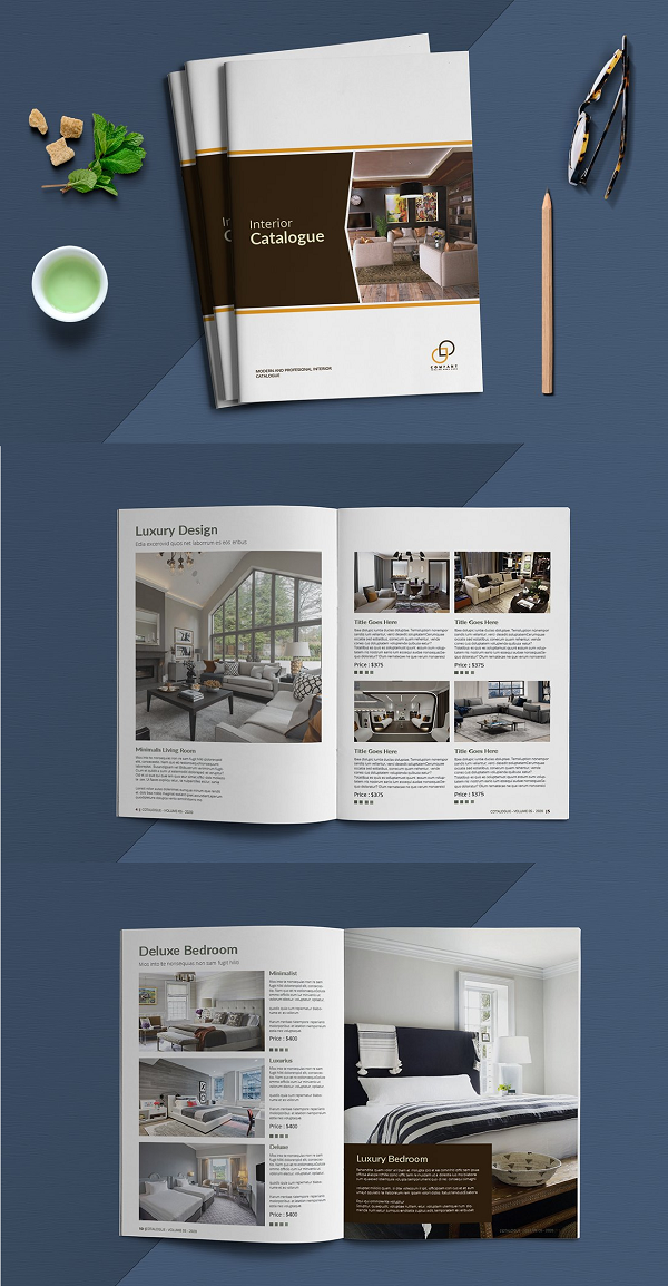 This is 20 pages Clean, elegant, modern and professional Interior Catalogue template. Suitable for any kind of businesses, corporate and can be also used for any other publishing and any kinds of catalogue. You will get the file in INDD and IDML InDesign format. It is fully editable, customizable and easy to work with. This Catalogue can serve multipurposes FIles Included: Size A4 (8.27x11.69) Size Letter (8.5x11) indd (InDesign format) idml (InDesign format) PDF File Features: 16 Pages Stylish Layout Clean and Modern Layout Paragraph Styles Layered Template Print-ready with bleed Auto page number Built-in free fonts